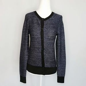 Ann Taylor Loft Blue Button up Metallic Cardigan